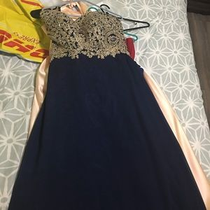 Dresses & Skirts - Corset dress size 12 Navy blue w/gold beading top